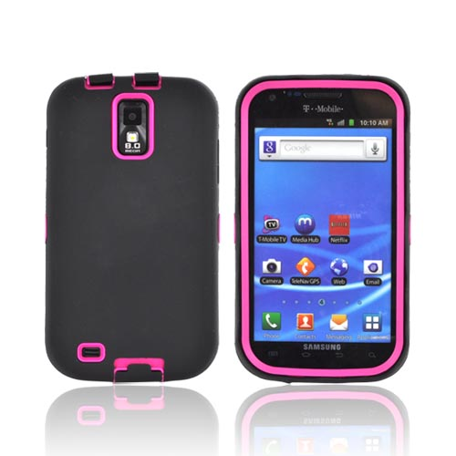 T-Mobile Samsung Galaxy S2 Silicone Over Hard Case - Black/ Hot Pink