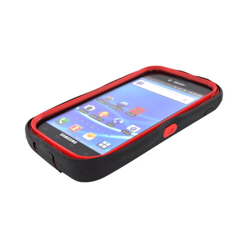 T-Mobile Samsung Galaxy S2 Silicone Over Hard Case - Black/ Red