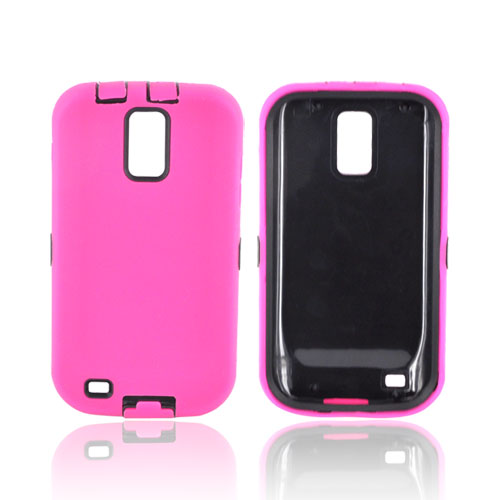 T-Mobile Samsung Galaxy S2 Silicone Over Hard Case - Hot Pink/ Black