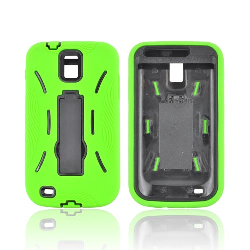 T-Mobile Samsung Galaxy S2 Silicone Over Hard Case w/ Stand - Lime Green/ Black