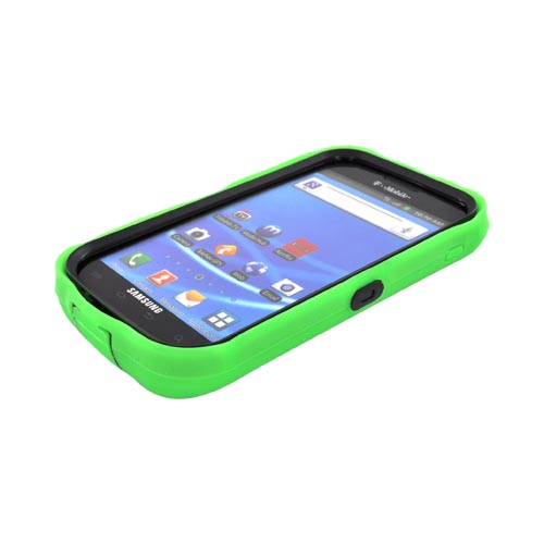 T-Mobile Samsung Galaxy S2 Silicone Over Hard Case - Neon Green/ Black