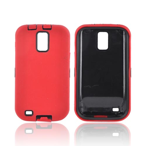 T-Mobile Samsung Galaxy S2 Silicone Over Hard Case - Red/ Black