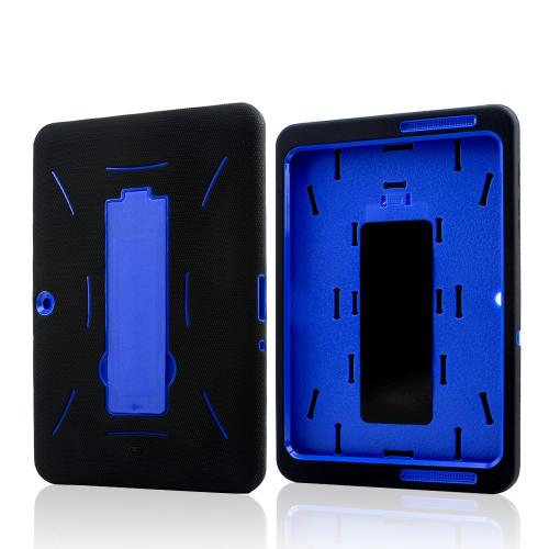 Black Silicone on Blue Hard Case w/ Kickstand for Samsung Galaxy Tab 2 10.1