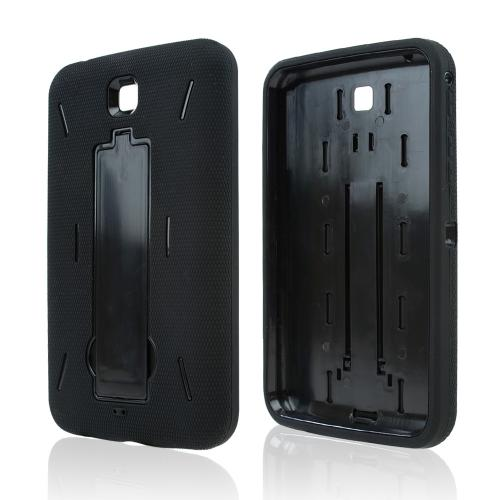 Black Silicone Over Black Hard Case w/ Kickstand for Samsung Galaxy Tab 3 7.0