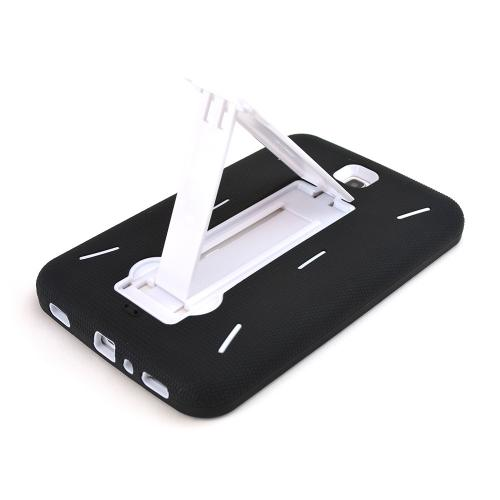 Black Silicone Over White Hard Case w/ Kickstand for Samsung Galaxy Tab 3 7.0