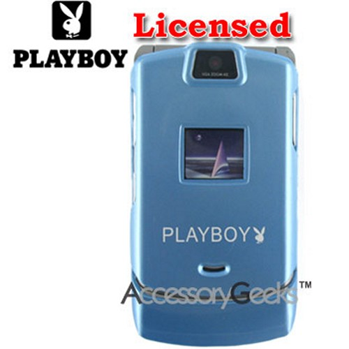 Licensed PlayBoy Motorola RAZR V3 Hard Case - Blue with White Bunny