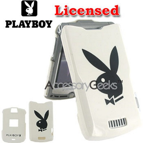 Licensed PlayBoy Motorola RAZR V3 Hard Case - White w/ Black Bunny