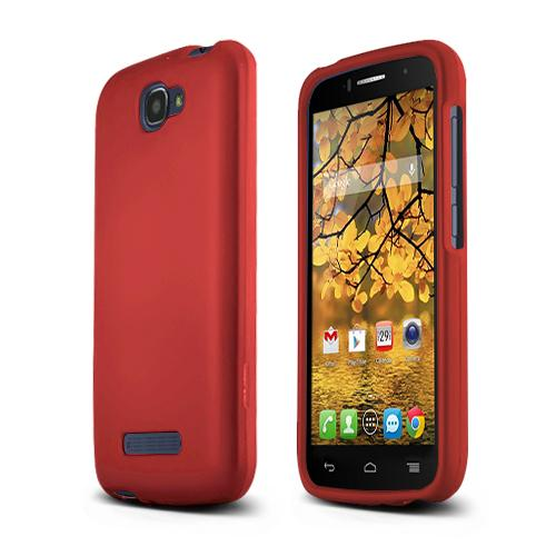 Red Alcatel One Touch Fierce 2 Matte Rubberized Hard Case Cover; Perfect fit as Best Coolest Design Plastic cases