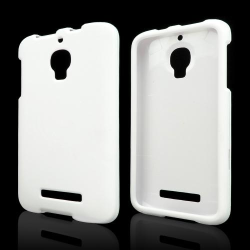 White Rubberized Hard Case for Alcatel One Touch Fierce