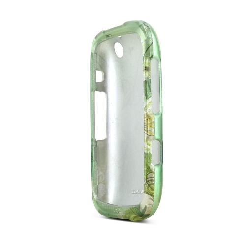 BlackBerry Curve 9310/9320 Hard Plastic Case - White Hawaiian Flowers on Green