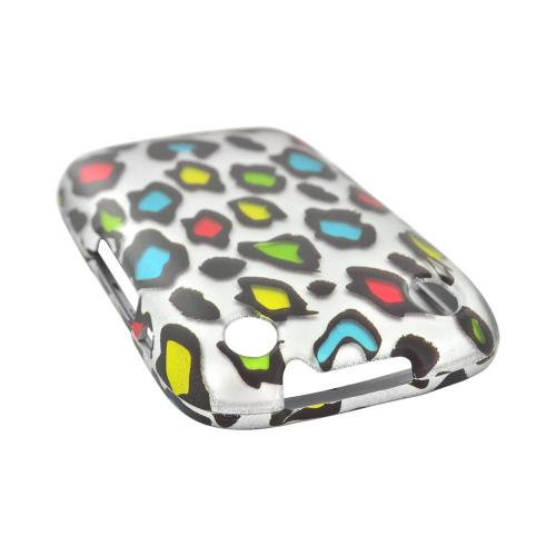BlackBerry Curve 9310/9320 Rubberized Hard Case - Rainbow Leopard on Silver
