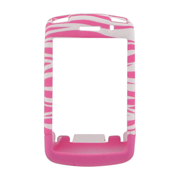 Blackberry Storm 9530 Rubberized Hard Case - Baby Pink Zebra on White