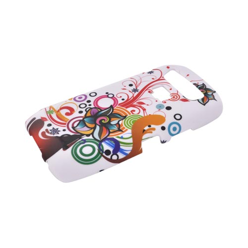 Blackberry Storm 3 9570 Rubberized Hard Case - Colorful Flowers/ Swirls on White