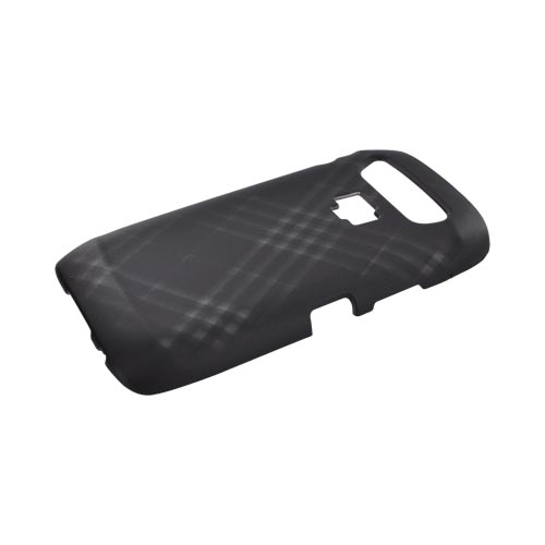 Blackberry Torch 9850 Rubberized Hard Case - Gray Plaid on Black