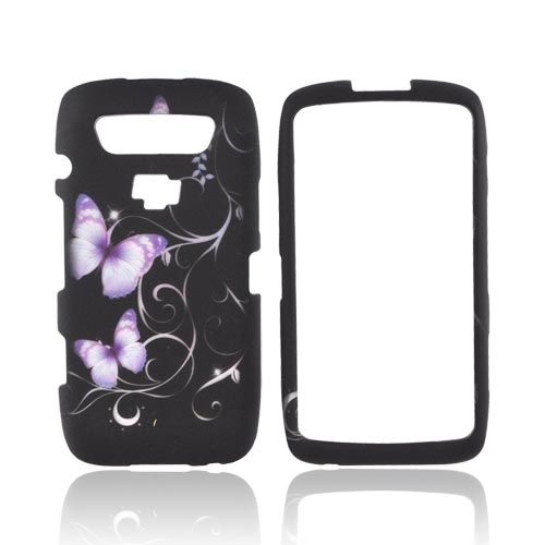 Blackberry Torch 9850 Rubberized Hard Case - Purple Butterflies on Black