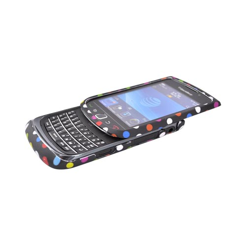 Blackberry Torch 9800 Rubberized Hard Case - Rainbow Dots on Black