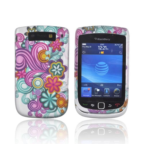 Blackberry Torch 9800 Rubberized Hard Case - Turquoise/ Purple Floral Burst on Silver