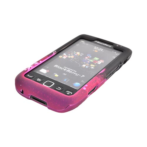 Blackberry Torch 9850 Rubberized Hard Case - Hot Pink/ Purple Flowers & Hearts