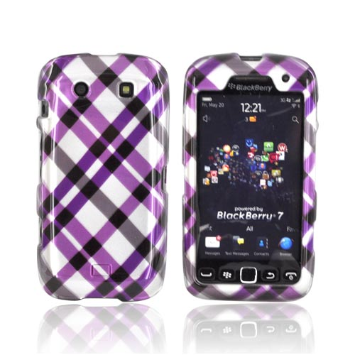 Blackberry Torch 9850 Hard Case - Purple Plaid on Silver