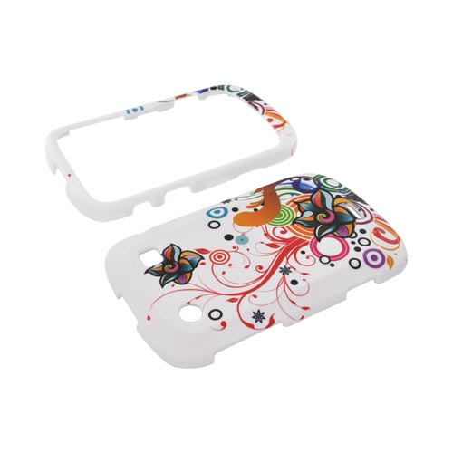 Blackberry Bold 9900, 9930 Rubberized Hard Case - Rainbow Autumn Floral Design on White