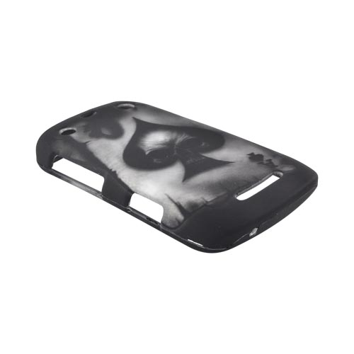 Blackberry Curve 9360 Rubberized Hard Case - Ace Skull on Gray