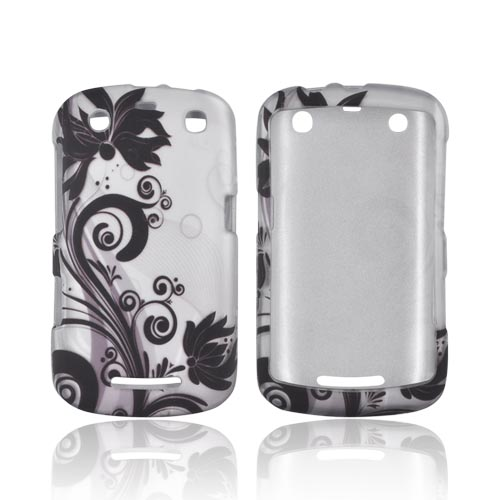 Blackberry Curve 9360 Rubberized Hard Case - Black Vines/ Flowers on Silver