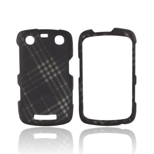 Blackberry Curve 9360/ Apollo Rubberized Hard Case - Gray Plaid on Black