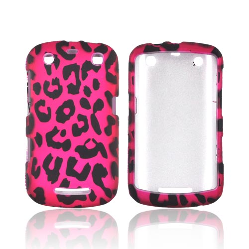 Blackberry Curve 9360 Rubberized Hard Case - Hot Pink/ Black Leopard
