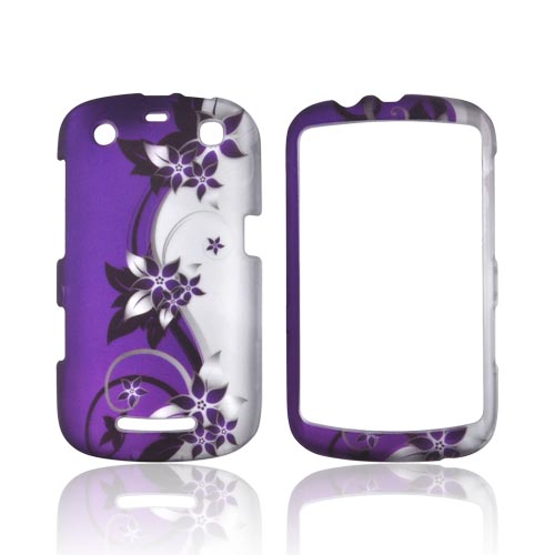 Blackberry Curve 9360 Rubberized Hard Case - Purple Flowers/ Vines on Silver