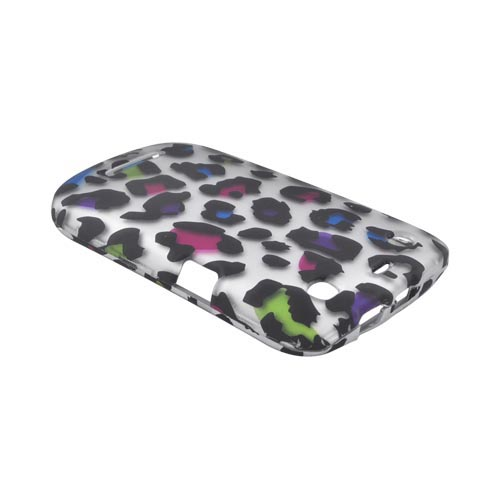 Blackberry Curve 9360 Rubberized Hard Case - Rainbow Leopard on Silver