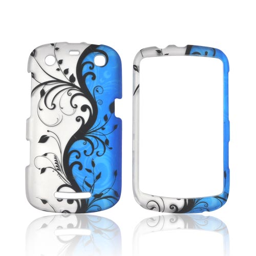 Blackberry Curve 9360 Rubberized Hard Case - Black Vines on Blue/ Silver