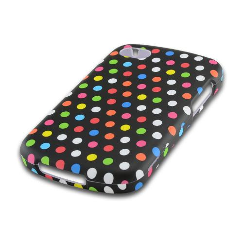 Rainbow Polka Dots on Black Rubberized Hard Case for Blackberry Q10