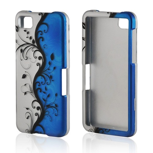 Black Vines on Blue/ Silver Rubberized Hard Case for BlackBerry Z10