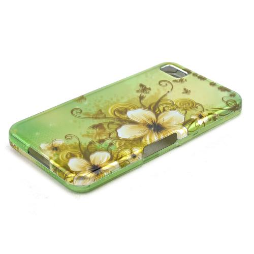 White Hawaiian Flowers on Green Rubberized Hard Case for BlackBerry Z10