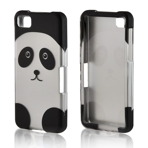 Black/ Silver Panda Rubberized Hard Case for BlackBerry Z10