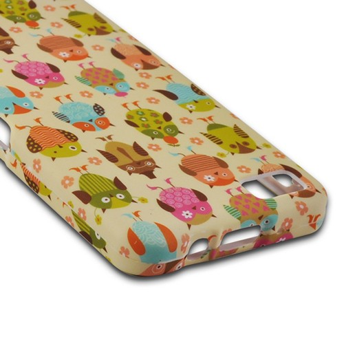 Retro Owls on Cream Rubberized Hard Case for Blackberry Z10