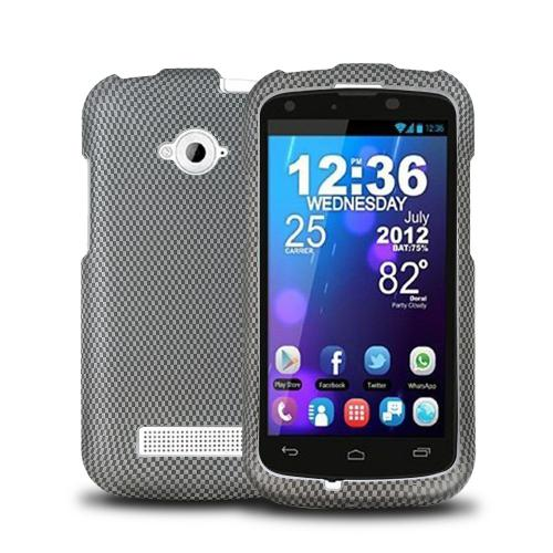 Gray/ Black Carbon Fiber Design Rubberized Hard Plastic Case for Blu Tank 4.5