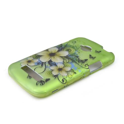 White Hawaiian Flowers on Green Rubberized Hard Plastic Case for Blu Tank 4.5