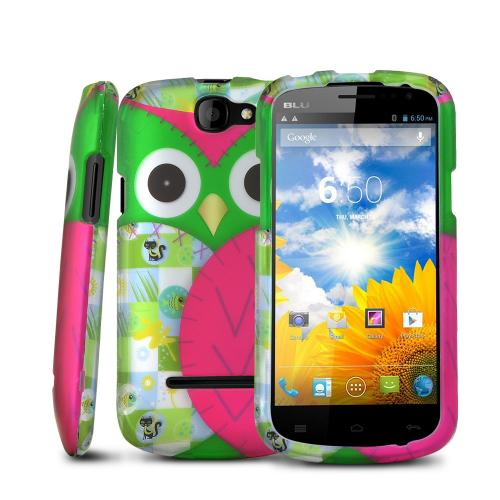 Hot Pink / Green Owl Rubberized Hard Case for Blu Dash 4.5