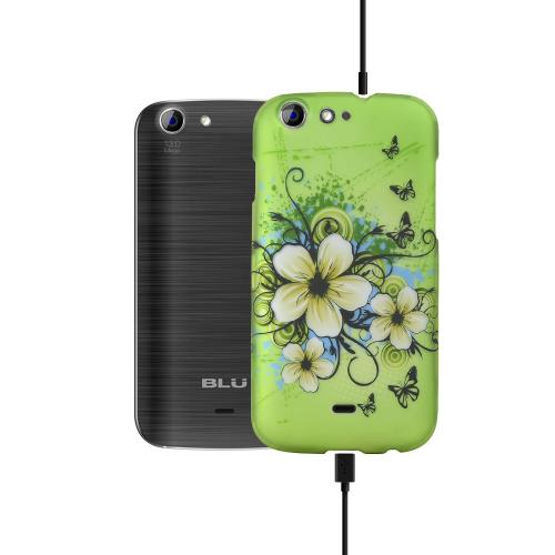 White Hawaiian Flowers on Green Rubberized Hard Plastic Case for Blu Life One
