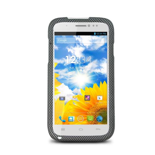 Gray/ Black Carbon Fiber Design Rubberized Hard Plastic Case for Blu Studio 5.0