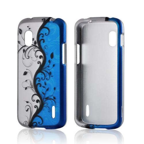 Black Vines on Silver/ Blue Rubberized Hard Case for LG Google Nexus 4