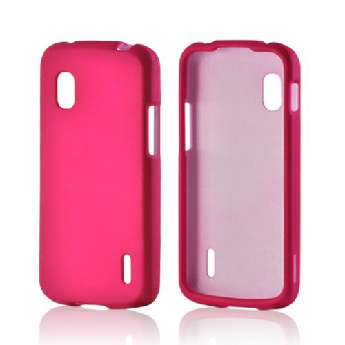 Hot Pink Rubberized Hard Case for LG Nexus 4