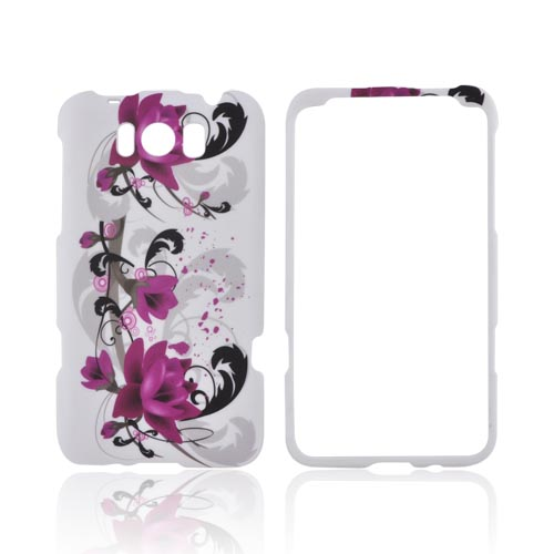 HTC Titan Rubberized Hard Case - Pink Flowers on White