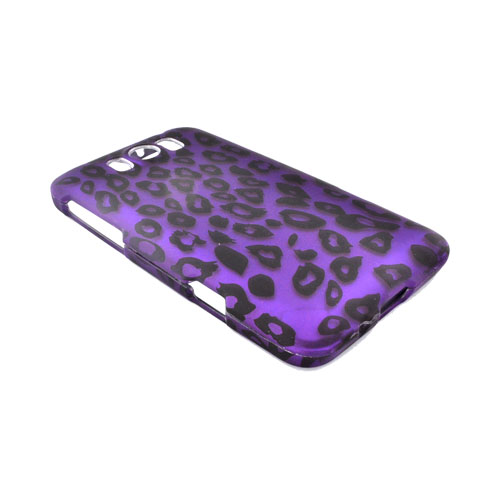 HTC Titan Rubberized Hard Case - Purple/ Black Leopard