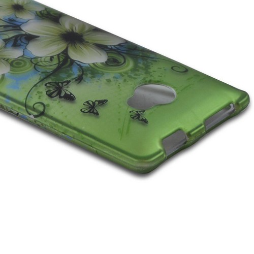 HTC 8X Rubberized Hard Case - White Hawaiian Flowers on Green