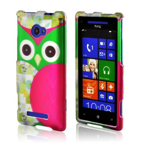 Hot Pink/ Green Owl Rubberized Hard Case for HTC 8X