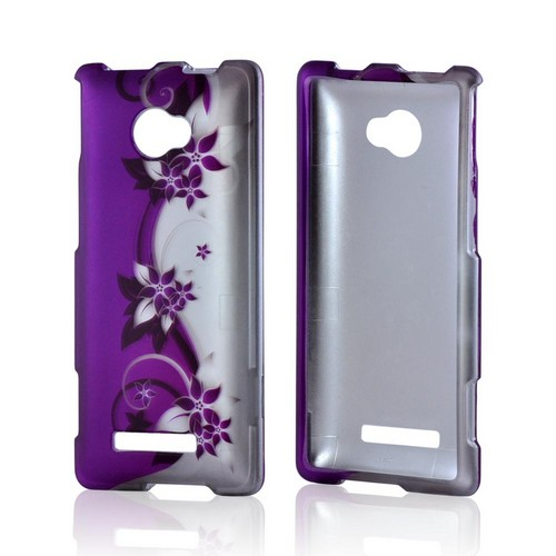 HTC 8X Rubberized Hard Case - Purple Flowers/ Vines on Silver