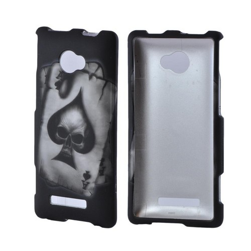 HTC 8X Rubberized Hard Case - Ace Skull on Gray