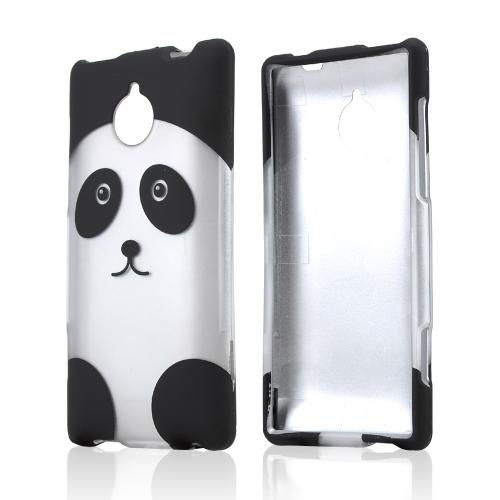 Silver/ Black Panda Bear Rubberized Hard Case for HTC 8XT